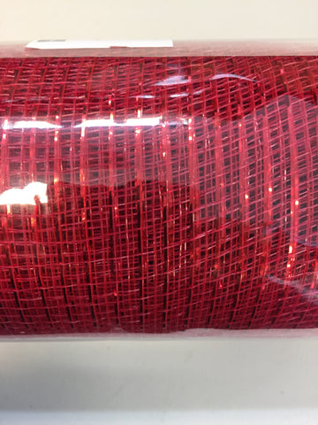 "Deco mesh - 10"" x 10yd  Red w/ Red Thin Foil - unique in the creek canada"