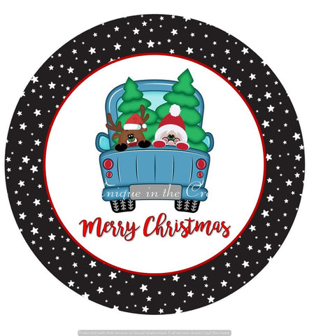 "664.  Merry Christmas Truck, Santa, reindeer ""VINYL"" image center"