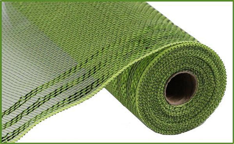 "Decomesh - 10.5""X10YD BORDER STRIPE METALLIC MESH MOSS/APPLE GREEN - unique in the creek canada"