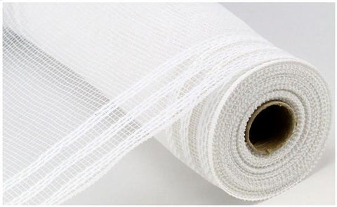 "Decomesh - 10.5""X10YD BORDER STRIPE METALLIC MESH WHITE/WHITE FOIL - unique in the creek canada"