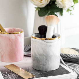 Marble Brush Storage Pot