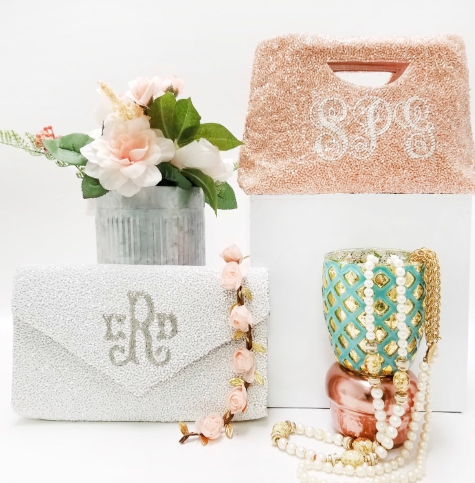 Personalized Beaded Clutch