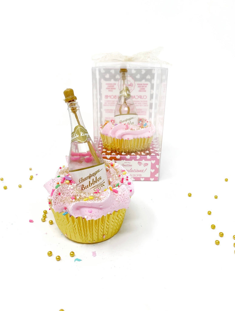 Large Cupcake Bath Bomb - Champagne Bottle