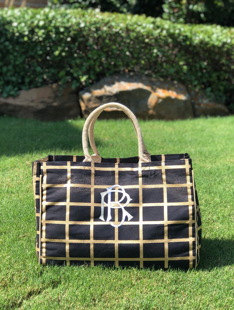 Black and Gold Jute Tote