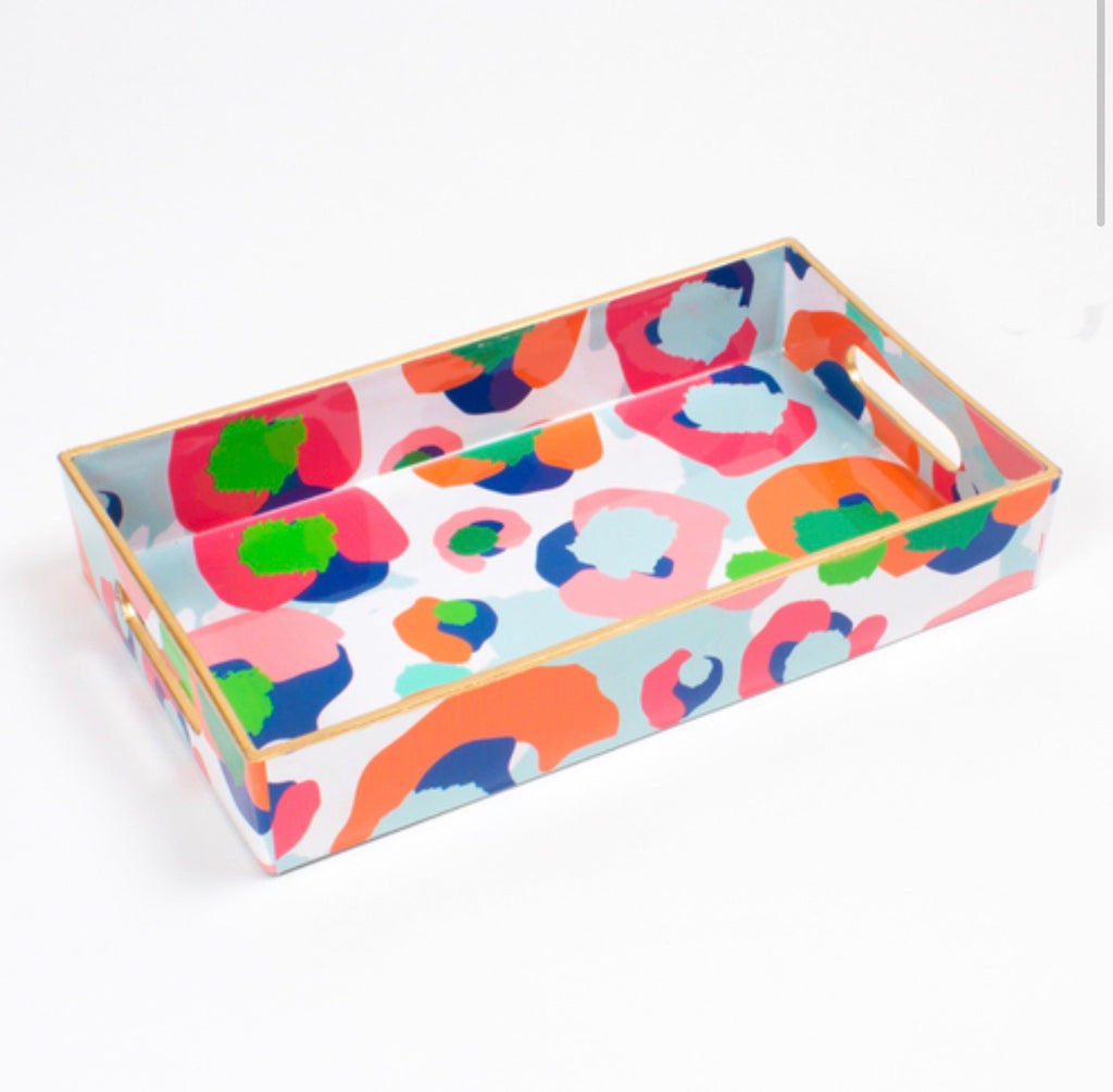 Multi Color Leopard Utensil Tray
