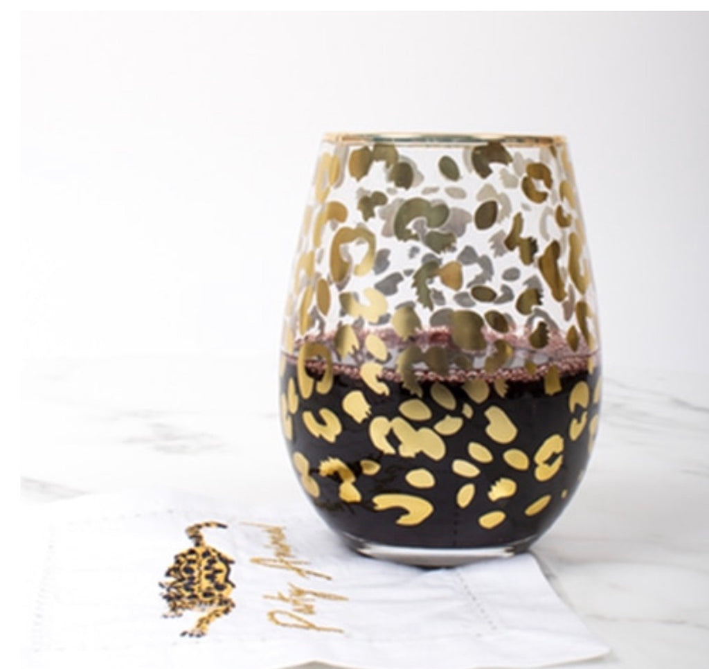 PREORDER Gold Leopard Stemless Wine Glass