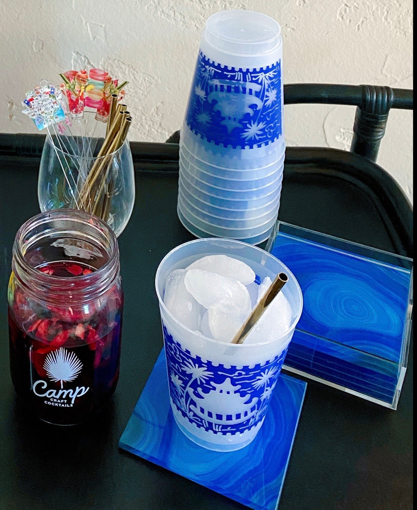 Blue and White Chinoserie Ginger Jar Frosted Cup