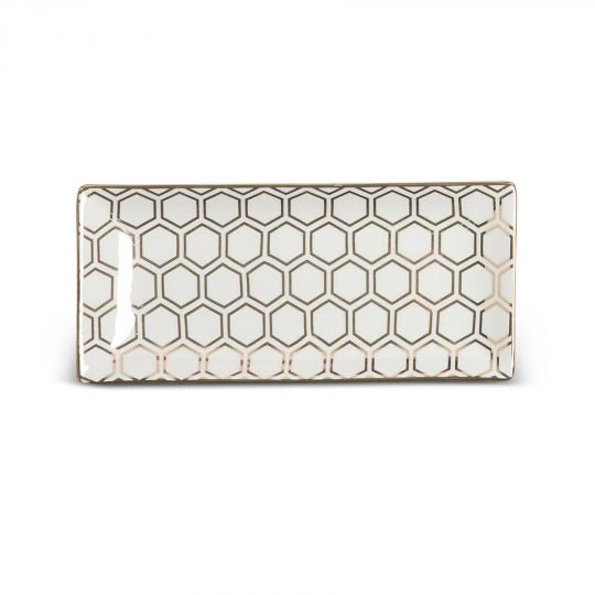 Honeycomb Gold Rectangle Tray