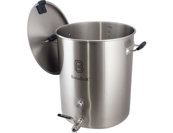 KETTLE - BREWBUILT 15 GALLON STAINLESS W/ VALVE & THERMOMETER