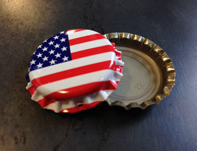 CAP - AMERICAN FLAG - PACKAGED CROWN CAPS WITH OXY-LINER (144/BAG)