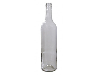 BOTTLE - 750mL - CLEAR OPTIMA BORDEAUX FLAT BOTTOM WINE BOTTLES (12/CASE)