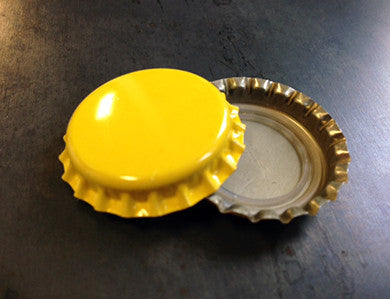 CAP - YELLOW - PACKAGED CROWN CAPS WITH OXY-LINER (144/BAG)