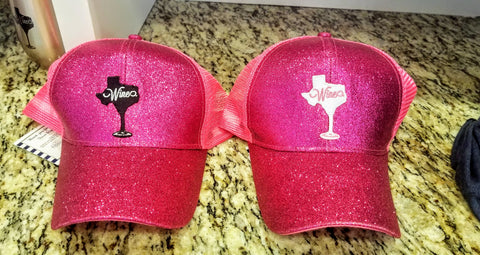 Hot Pink High Ponytail Messy Bun Texas Wine Hat