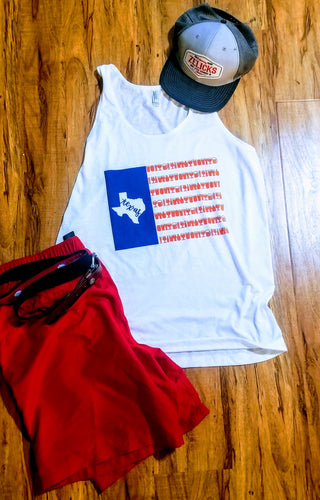 Texas American Flag Beer Tank Top Unisex