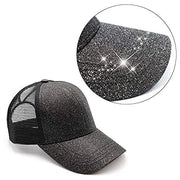 GLITTER HIGH PONYTAIL Messy Bun Hat