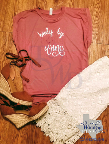 Body By Wine Workout Flowy Muscle Tee With Rolled Cuff