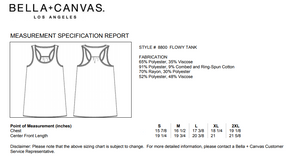 Bella Canvas Flowy Tank top sizing and fit