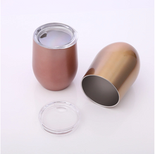 Load image into Gallery viewer, Metal Wine Tumbler with Lid Rose Gold and Marble