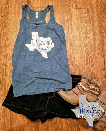 Texas Cheers Y'all Racerback Tank Top - Partners in Wine Tank Top- Turquoise