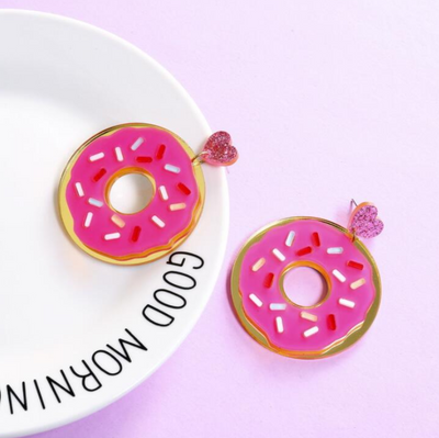 Donut Statement Earrings, Donut Dangle Earrings