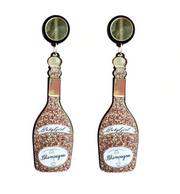 Gold Glitter Wine Trip Jewelry, Wine Trip Earrings