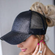 Glitter Messy Bun High Ponytail Hat