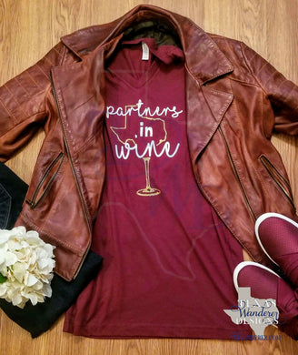 Texas Shape Partners in Wine Maroon Women's V-Neck