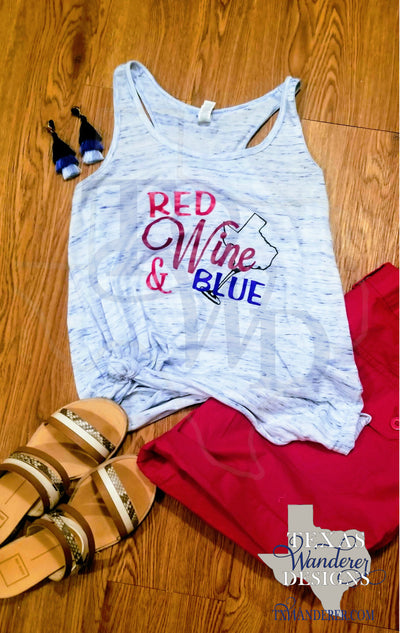 Red Wine and Blue Tank Top, Red White and Blue Tank