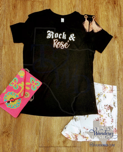 Rock and Rosé Black Crew Neck