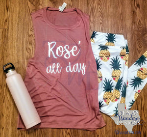Rosé All Day Muscle Tank, Wine Workout Tank Top