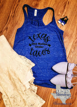 Load image into Gallery viewer, Texas One Nation under Tacos Tank Top in Royal Blue