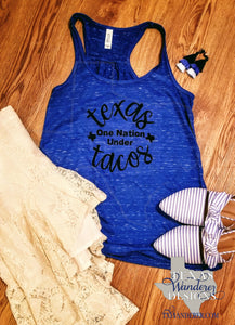 Texas One Nation under Tacos Tank Top in Royal Blue
