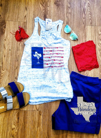 Texas Flag wine shirt, American Flag wine Tank
