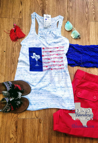 Texas Wine America Tank Top, American flag Wine tank