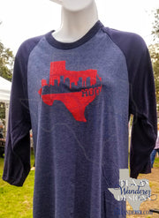 Houston Texas Glitter Raglan Shirt