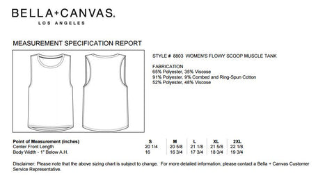 Bella Workout Tank Sizing