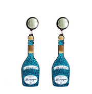 Blue Champagne Wine Earrings, Champagne Glitter earrings