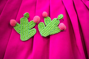 Beaded Cactus Earrings