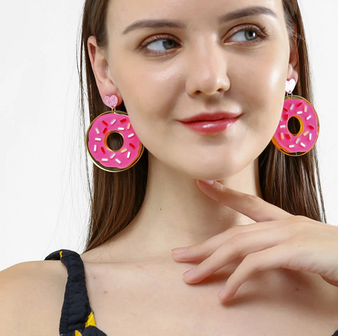 Fun Donut Earrings, Summer Food Earrings