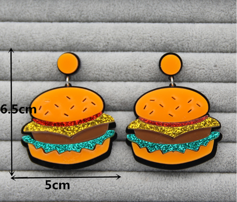 Fast Food Burger Earrings