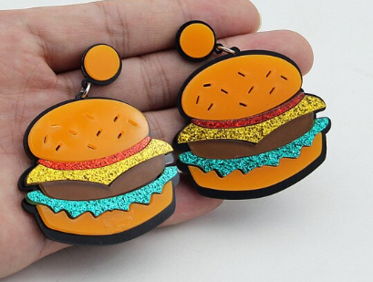 Hamburger Earrings | Fast Food Earrings | Burger Earrings