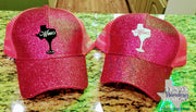 Wine Texas Glitter Hat Messy Bun Trucker Hat