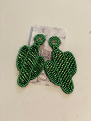 hand beaded cactus lover earrings