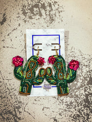 beautiful cactus earrings with beaded embellishment and pink beaded flowers
