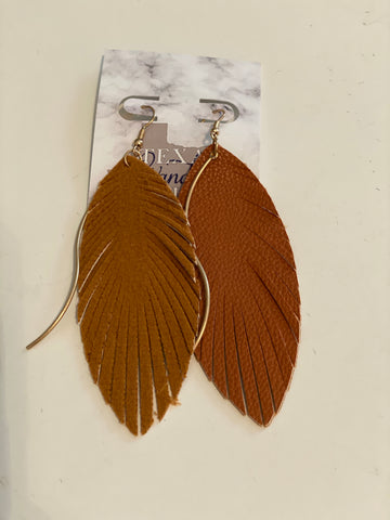 Feather Earrings Brown