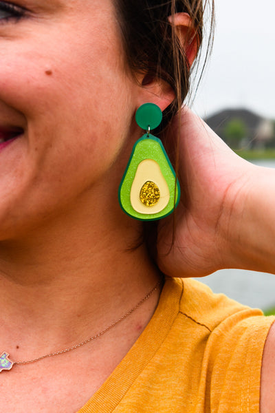 Glitter Avocado Earrings | Texas Wanderer Designs