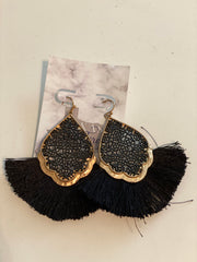 Black Fringe Earrings