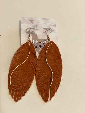 Green And Gold Feather Earrings