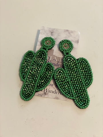 Long Cactus Green Earrings