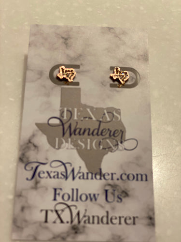 Glittery Dainty Texas State Shape Earrings